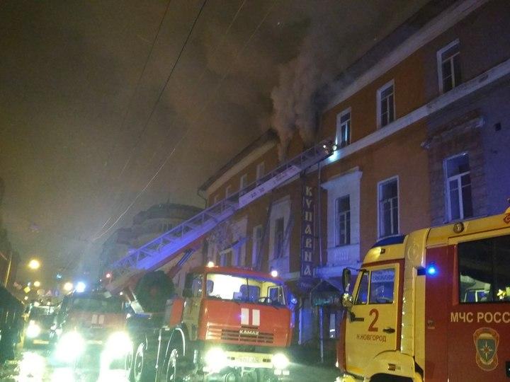 Пожар вцентре Нижнего Новгорода произошел минувшей ночью. Один человек умер